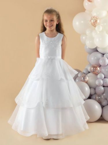 White Organza Communion Dress with Triple Layer Skirt